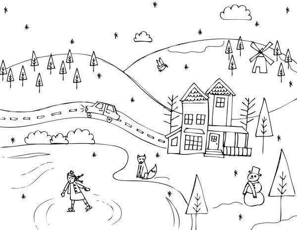 Classic Winter Scene On The Countryside Coloring Page Coloring Pages Winter Coloring Pages For Kids Coloring Pages