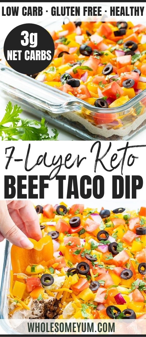 Keto 7 Layer Taco Dip Recipe With Meat | Wholesome Yum