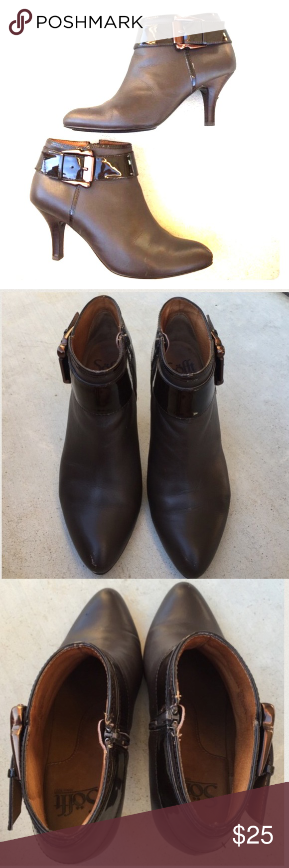 SOFFT brown leather booties Gently worn , size 6 , leather uppers , small wear marks on front tips , and in back heel and on back of left heel, comfy insole, 3 inch heel Sofft Shoes Ankle Boots & Booties