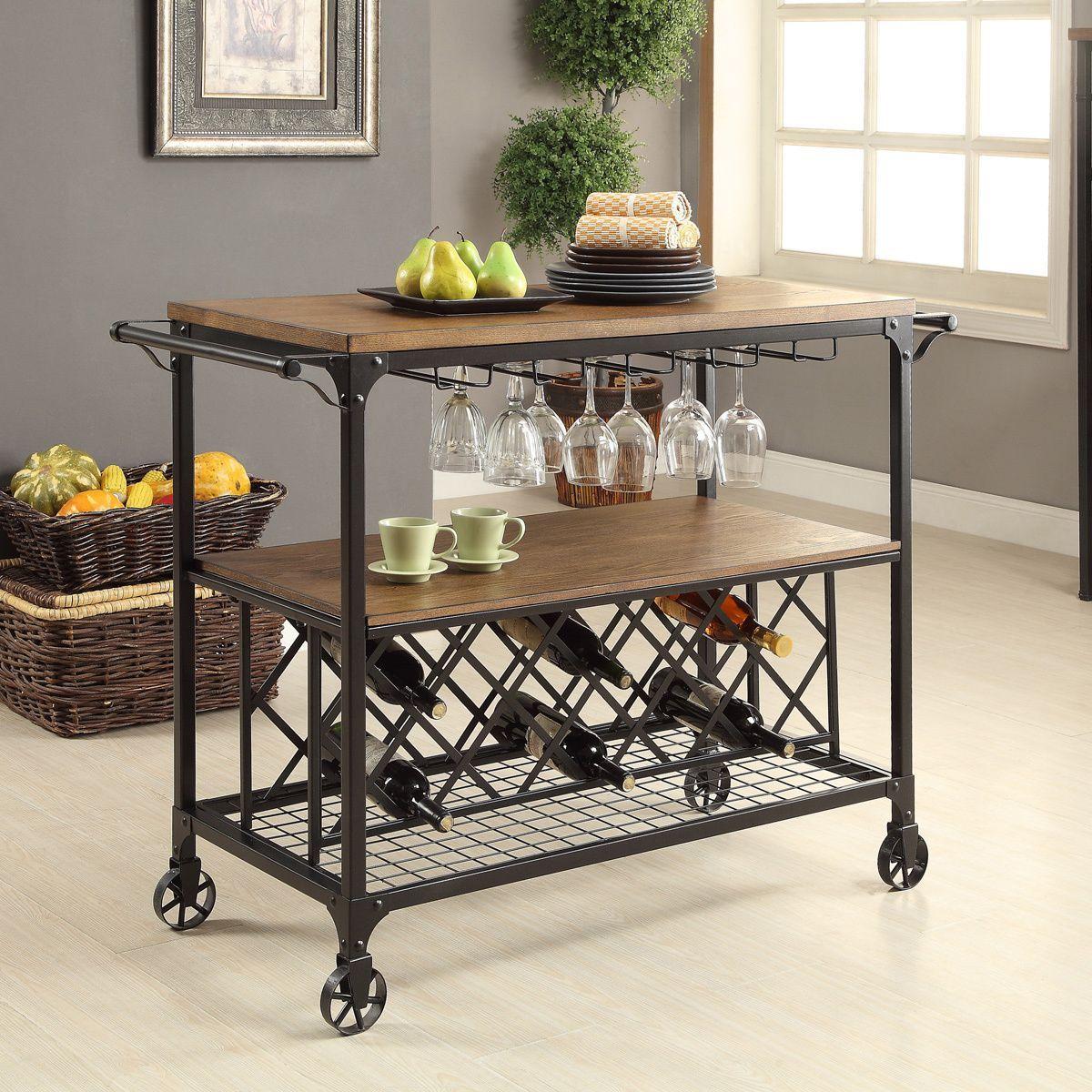 Furniture of america daimon industrial medium oak serving cart by