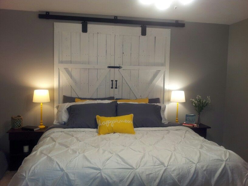 Barn Door Headboard My Husband Built From Pallet Wood With Track
