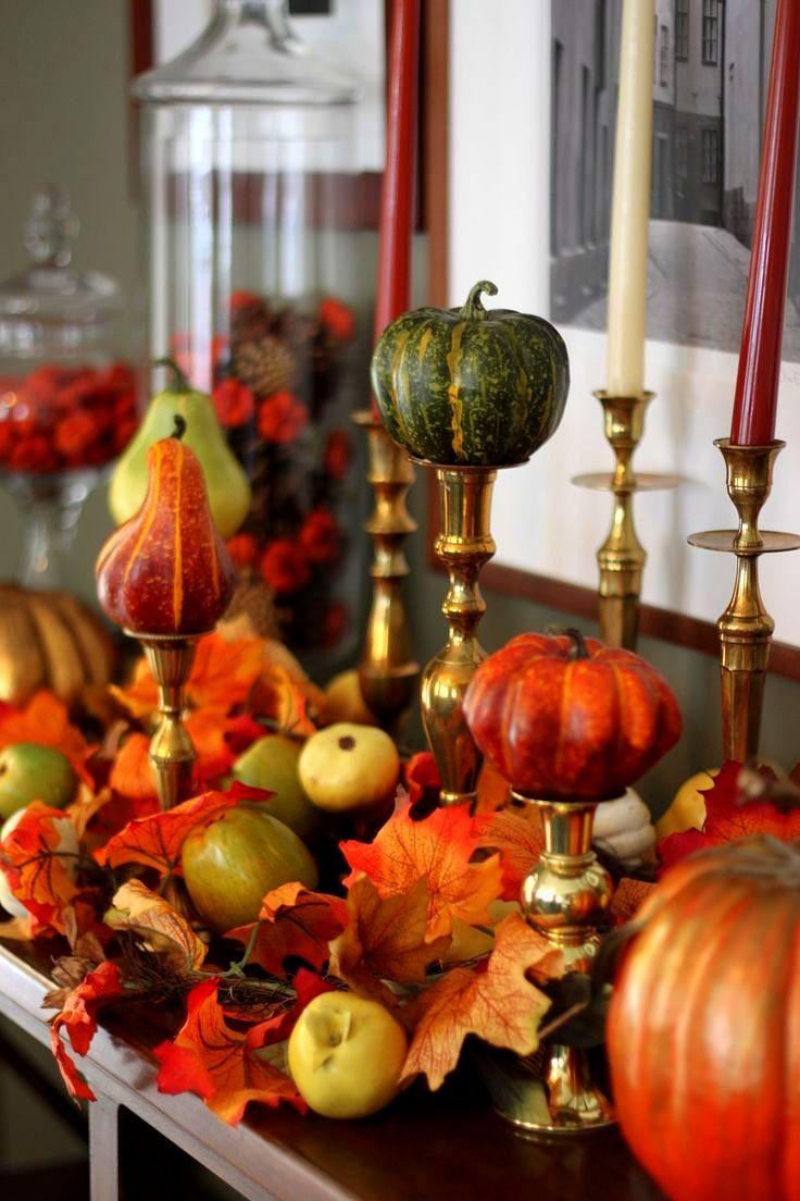 Ѽ Miniature pumpkins and gourds on candlesticks