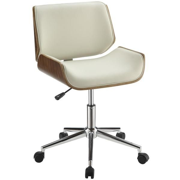 Astrid Adjustable Modern Curved Wood Upholstered Swivel Office
