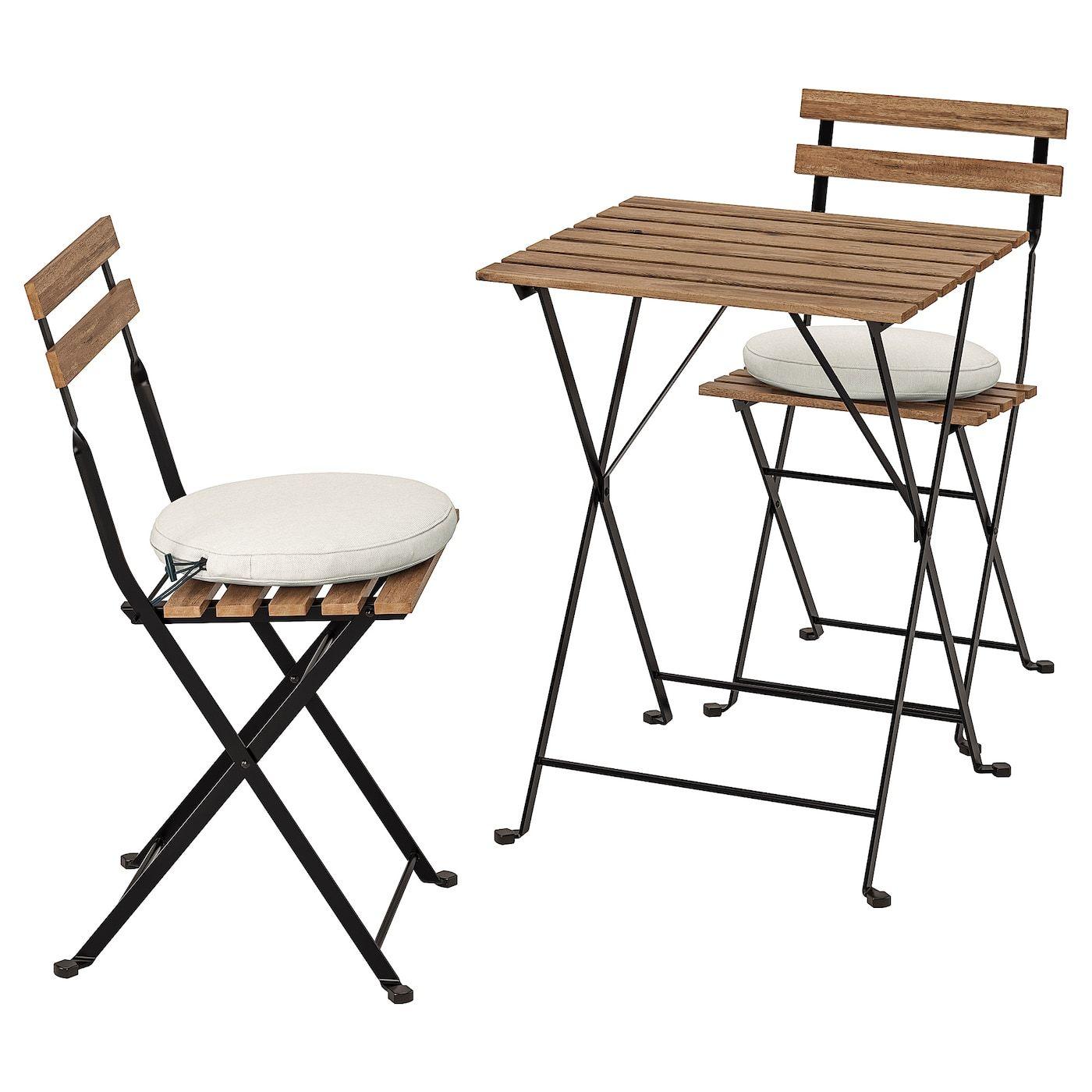 Tarno Tisch 2 Stuhle Aussen Schwarz Graubraun Lasiert Graubraun