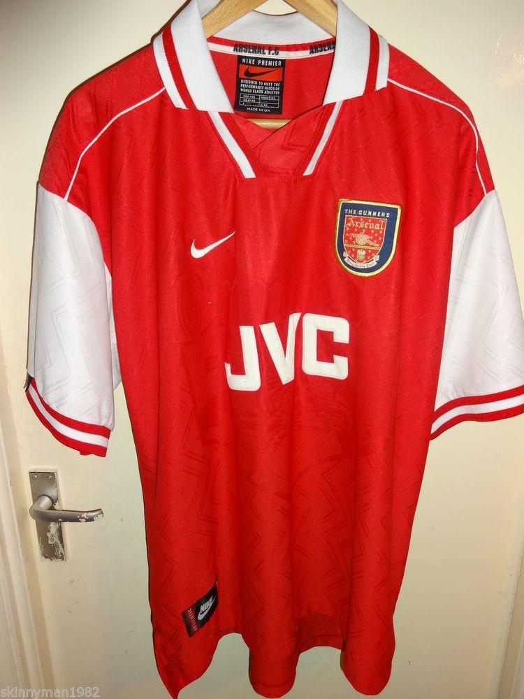 2f464cd4b4d Vintage Retro Authentic Arsenal Nike JVC 1996 - 98 Football Soccer shirt XXL