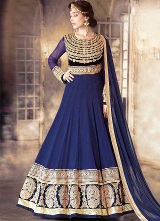 Blue Embroidery Work Georgette Viscose Designer Wedding Anarkali Gown Suit Http Www
