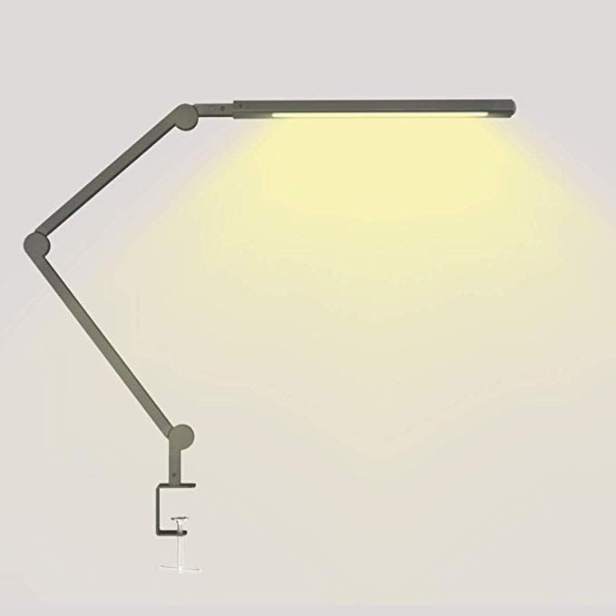 Swing Arm Lights Led Desk Lamp With Clamp 9w Eye Caring Dimmable Lamps Timer Memory Touch Control 6 Color Modes Niu Desk Lamp Dimmable Lamp Led Desk Lamp