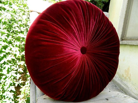 red wine silk velvet round pillow