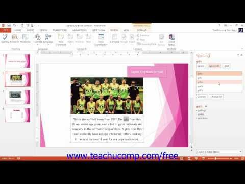 Learn how to check spelling in Microsoft PowerPoint at www.teachUcomp.com. Get the complete tutorial FREE at http://www.teachucomp.com/free - the most comprehensive PowerPoint tutorial available. Visit us today!