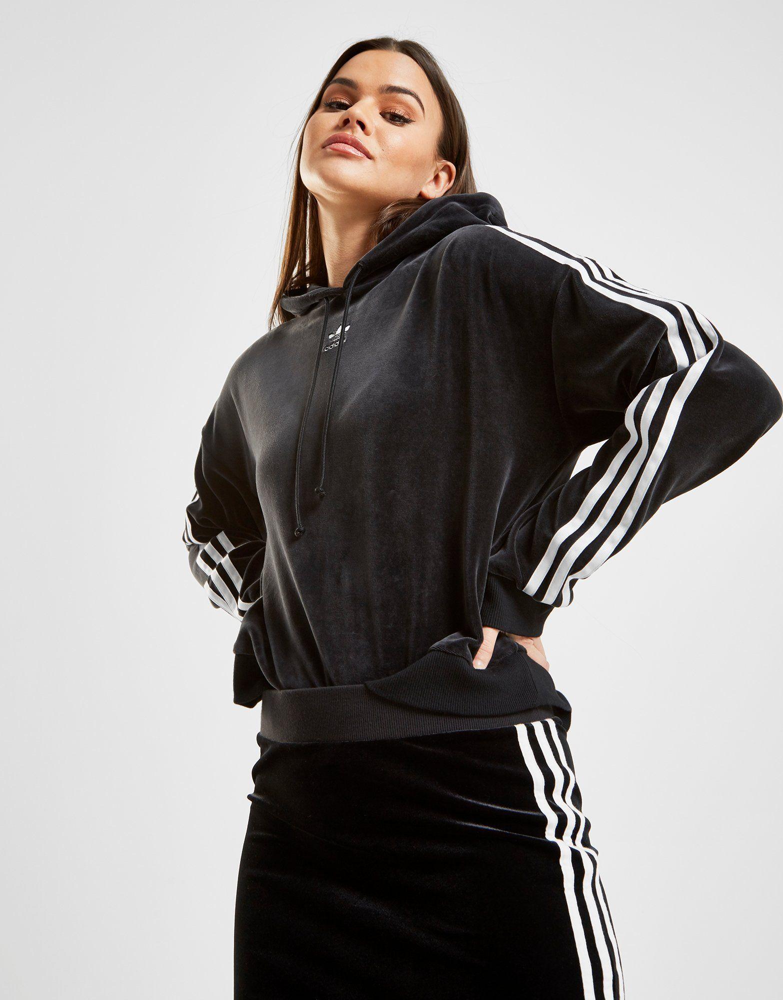 adidas Originals 3-Stripes Velvet Crop Overhead Hoodie in ...