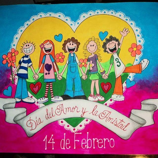 Cartelera Sobre El Dia Del Amor Y La Amistad Medidas 116 X 85 5 Cms Pintadoamano Cosas Cosasbonitas Card Carteleras Escolares El Gato Azul Carteleras