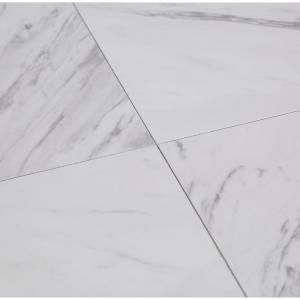 Trafficmaster 12 In X 12 In Peel And Stick Carrara Marble Vinyl Tile 30 Sq Ft X2f Case Ss1212 At The Home Vinyl Tile Marble Vinyl Peel And Stick Vinyl