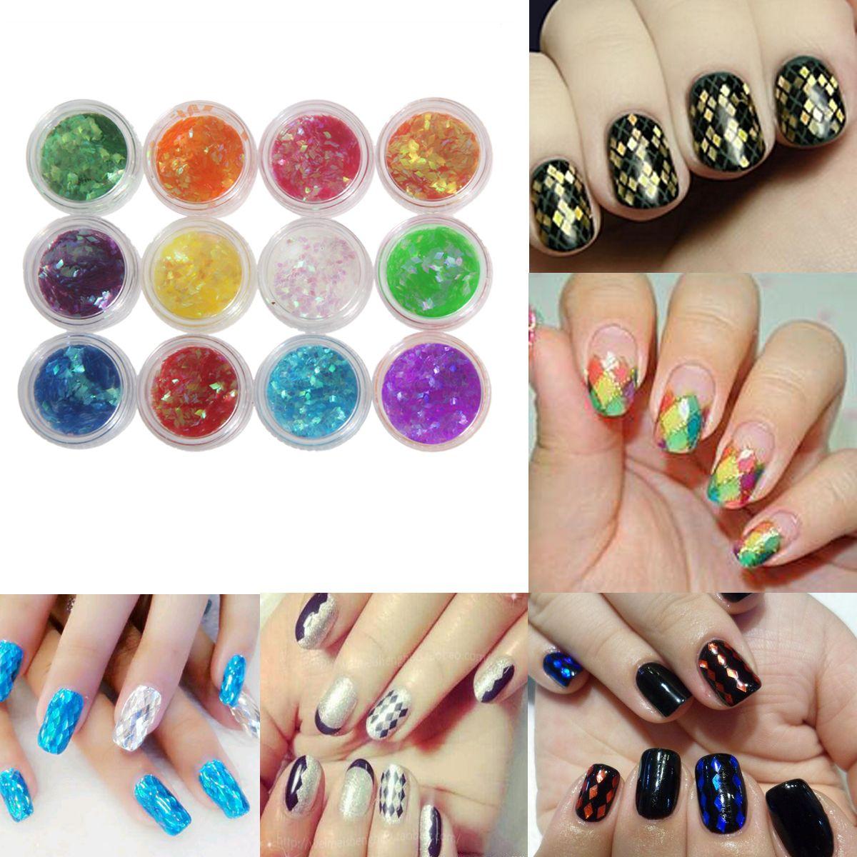 12 Colors Nail Art Tips Fine 3D Fingernail Sticker Sequins