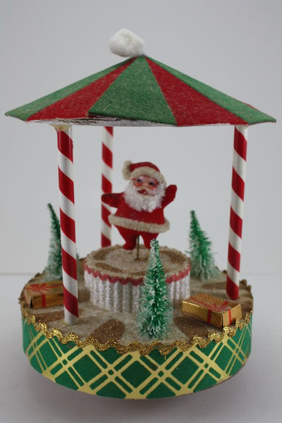Vintage Christmas Musical Dancing Santa In Carousel Brite Star - christmas carousel decoration