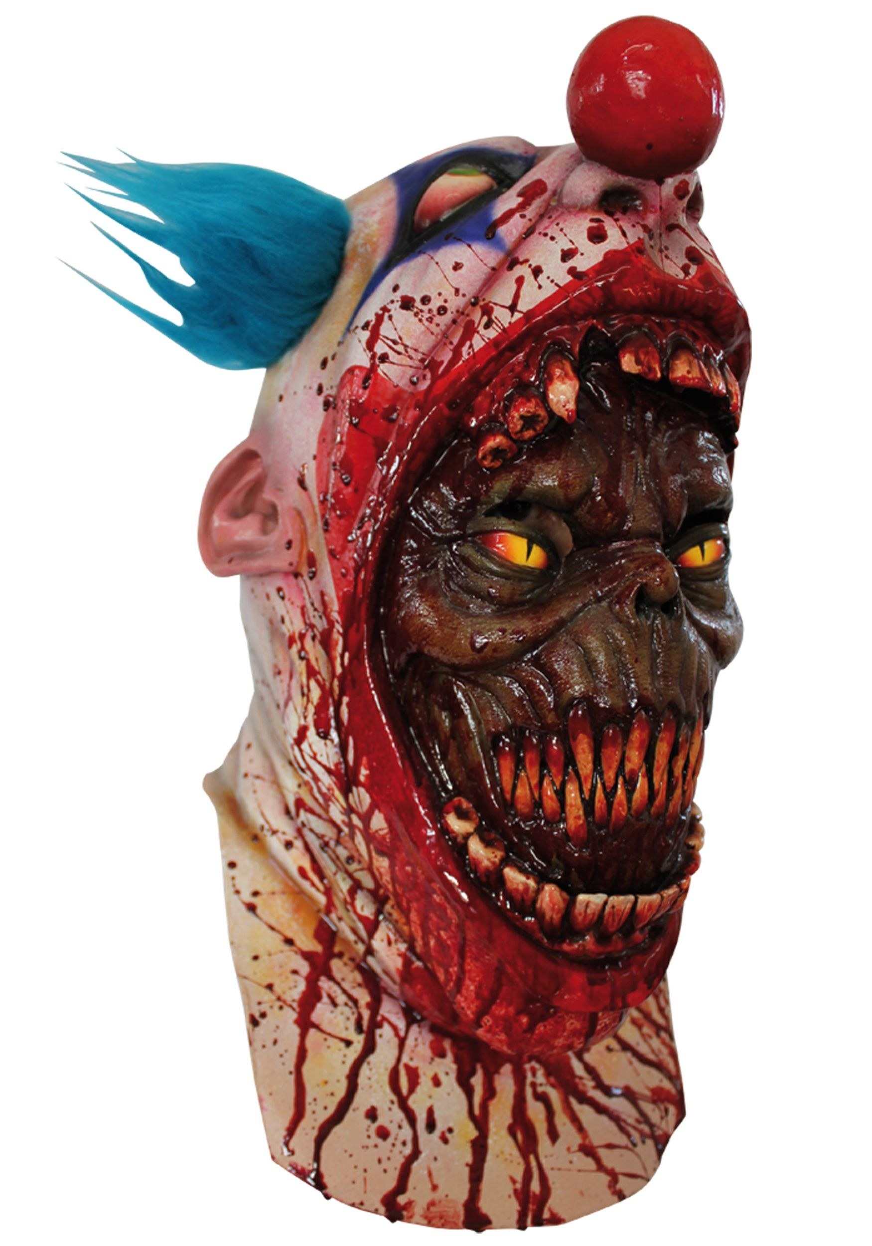 This gruesome coulrophobia clown mask features the face of an evil ...