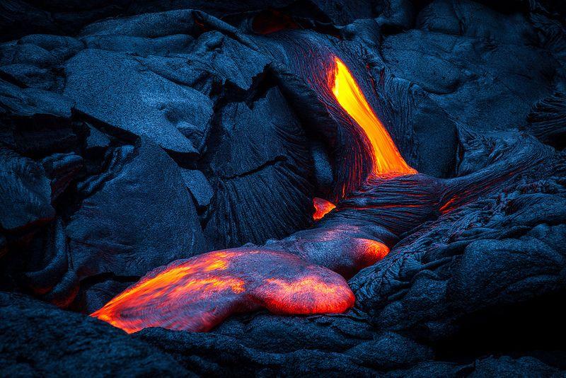 Oozing lava on the Big Island of Hawaii creates an eerie, yet beautiful glow.