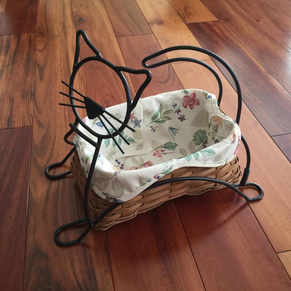 Longaberger Black Cat Basket Wrought Iron Stand Set Halloween ...