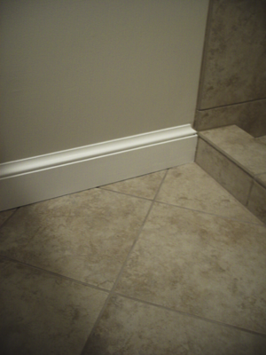 pvc baseboard with base cap | full bathroom remodel