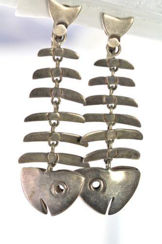 be63ddd55 Vintage 925 Sterling Silver Mexican Taxco Dangling Fish Bone Screw Back  Earrings | eBay