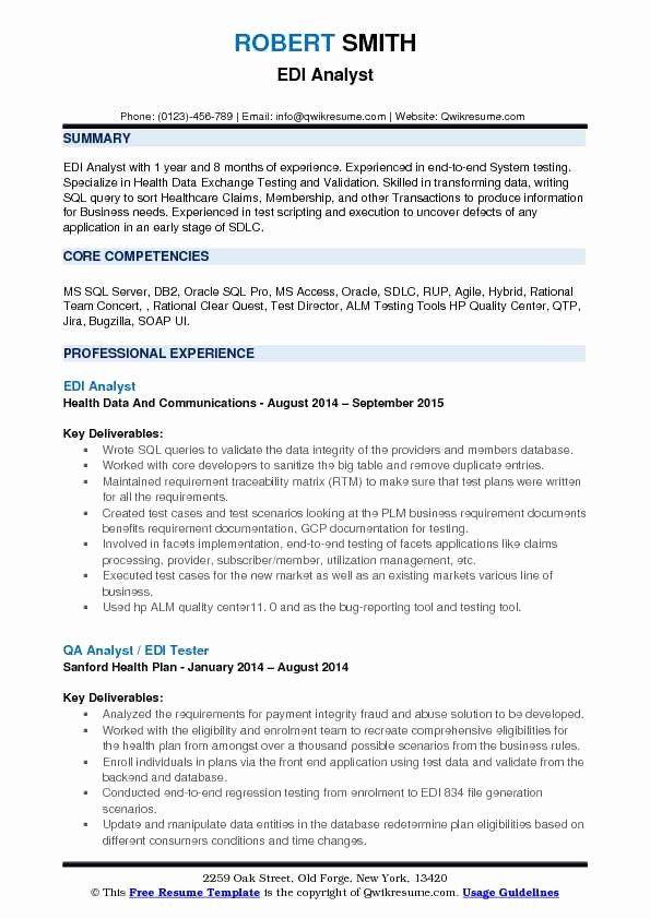 Jira Business Analyst Resume Lovely Edi Analyst Resume Samples
