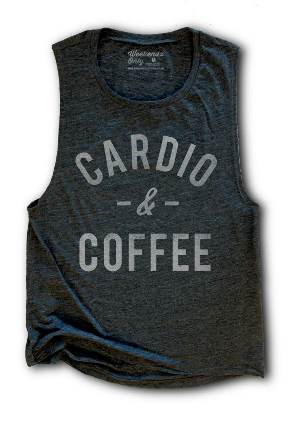 4cf9271d42855 10% OFF SALE - Cardio and Coffee Womens Work Out Tank - Yoga Top - Running  Tank - Coffee Shirt - Funny Work Out Tanks