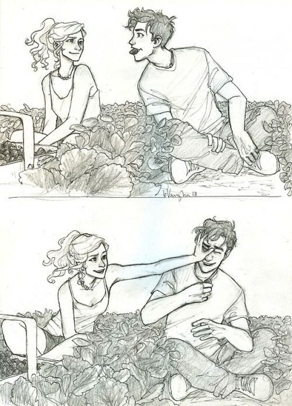 Burdge Bug new art. I CAN'T HANDLE ALL THIS CUTENESS OKAY // Percy Jackson and Annabeth Chase are picking strawberries. Percy has a strawberry in his mouth in the top picture. #gethimtochaseyou
