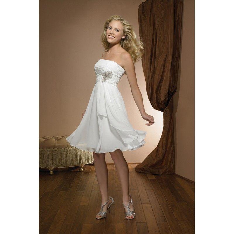 Simple A Line Strapless Sleeveless Short Wedding Dress Knee Length Zipper Back Applique Chiffon Bridal Gown