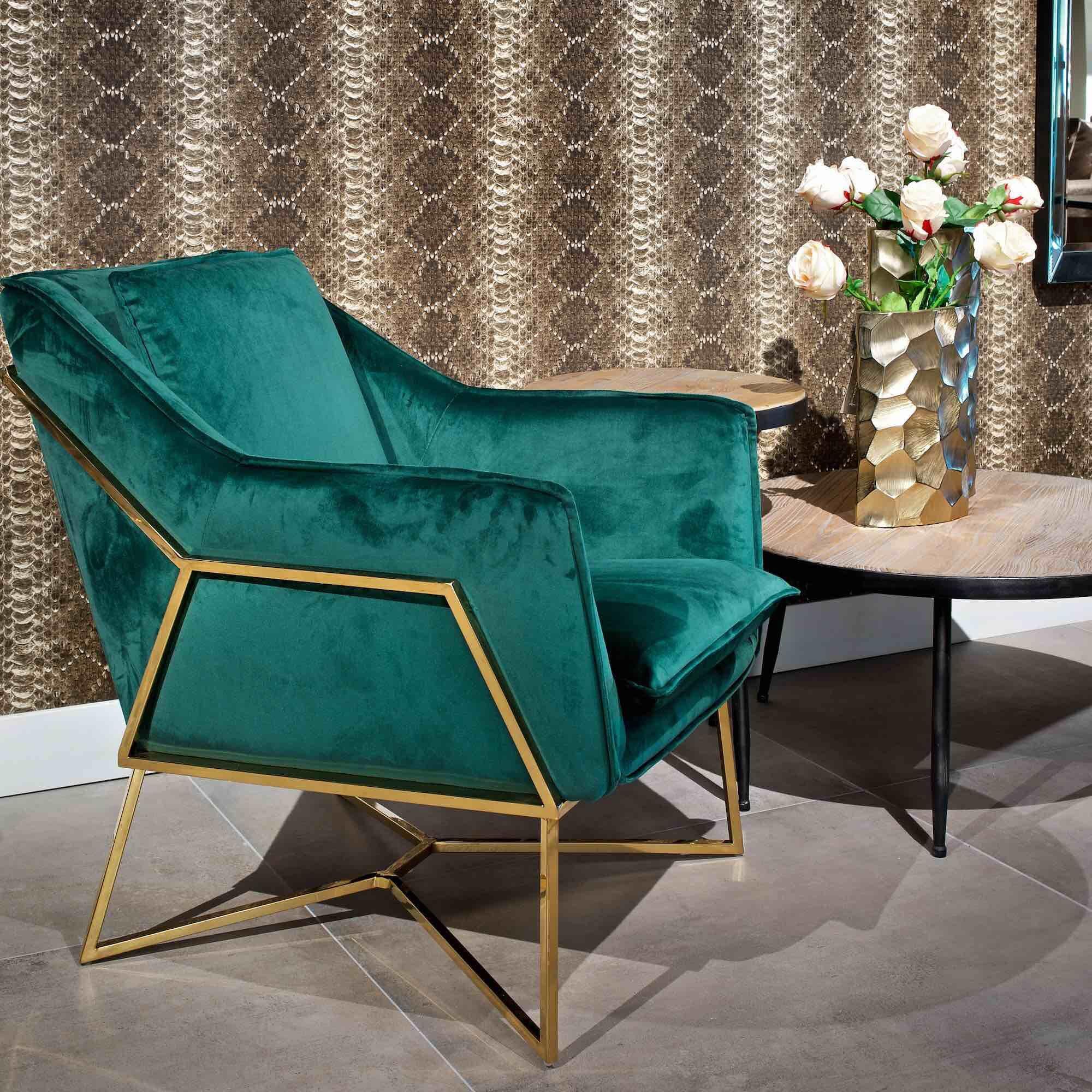 Contemporary green velvet occasional armchair chair