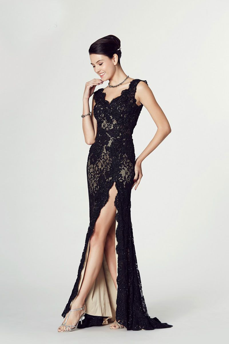 Long Black Lace Dress With V Neck And Thigh Split Style Judith Catherines Of Partick Illusion Dress Prom Black Lace Dress Long Goth Wedding Dresses [ 1200 x 801 Pixel ]