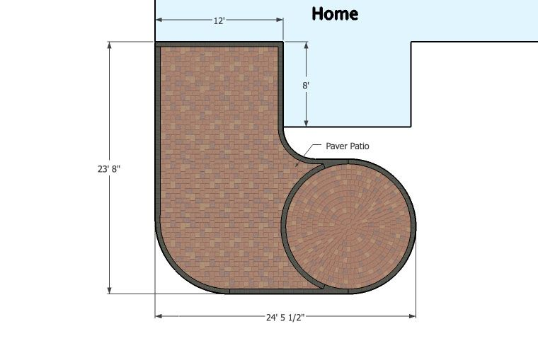 440 sq. ft. - L Shaped Patio Design | Patio design, Patio ... on L Shaped Backyard Layout id=40570