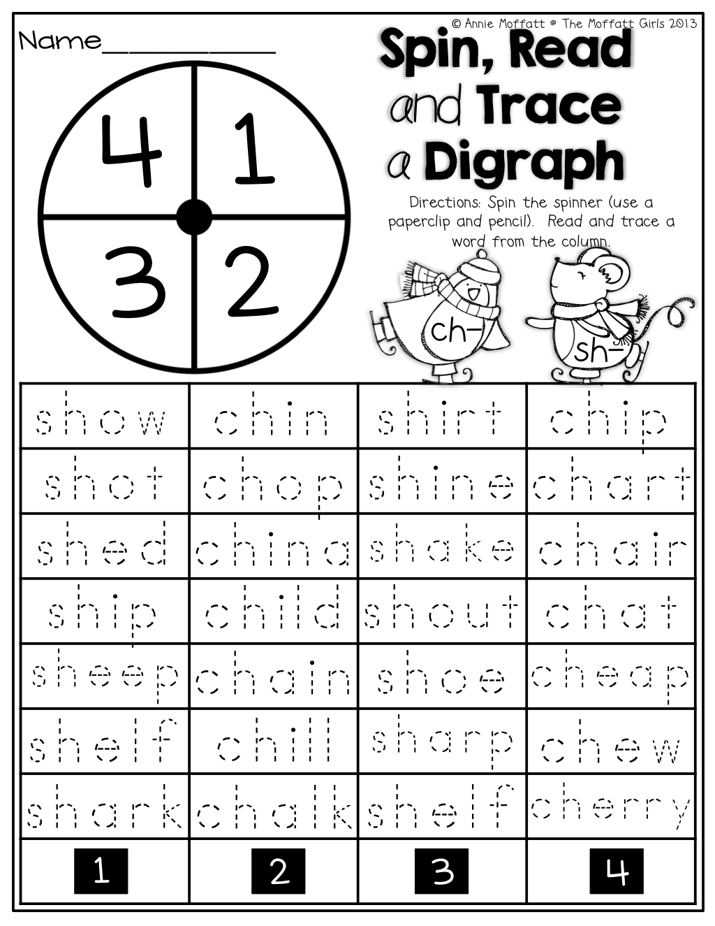 Spin, Read and Trace a Digraph (ch and sh)! | KinderLand ...
