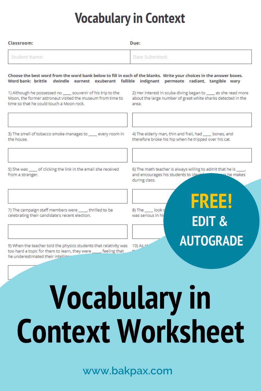 Free Vocabulary English Worksheet Vocabulary In Context Biology Worksheet Vocabulary
