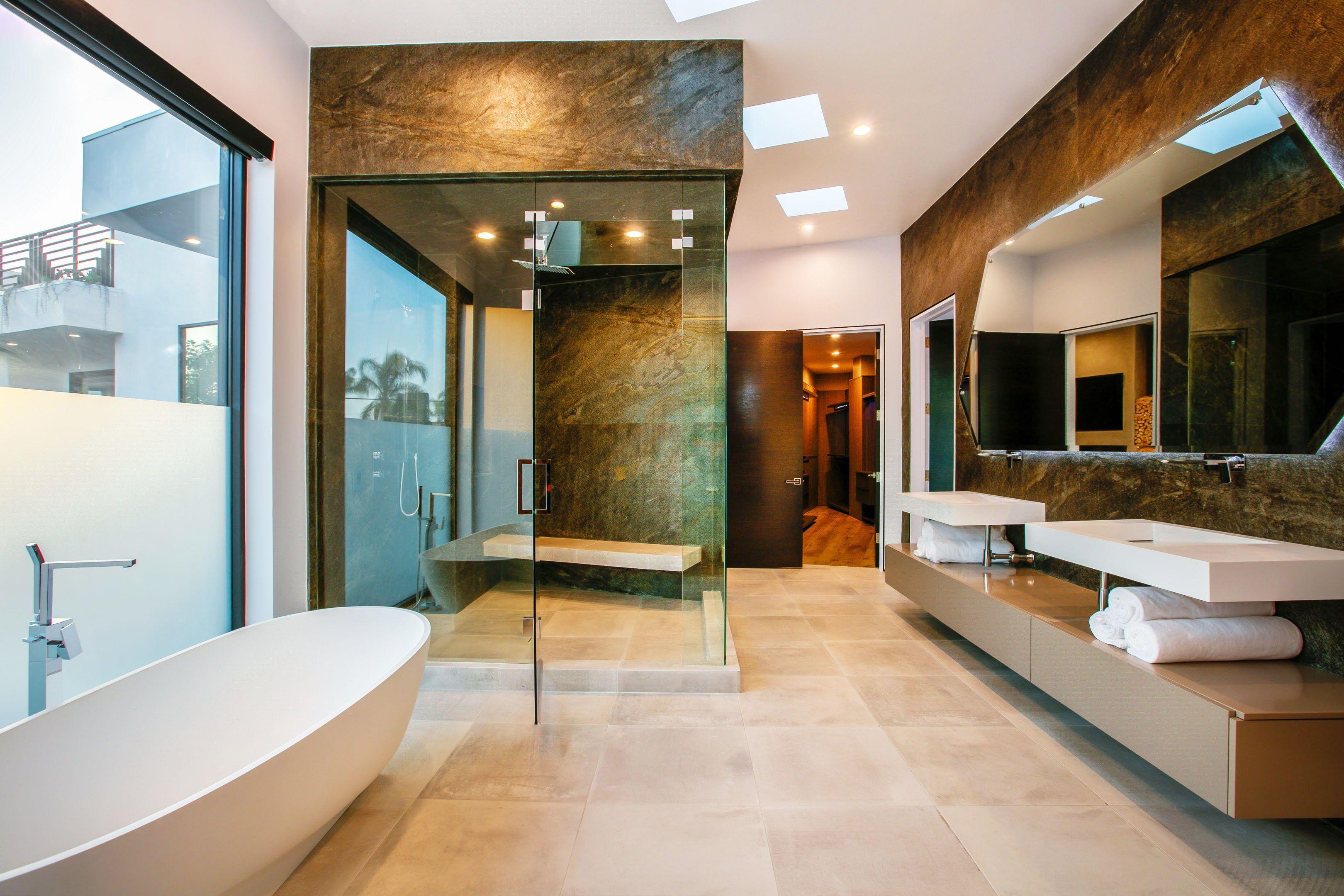 Custom Designed Master Bathroom Featuring Walk In Shower And