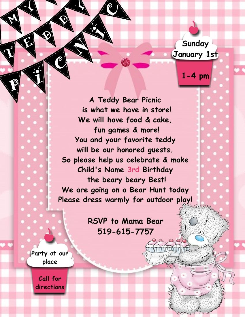 Teddy Bear Picnic Invitation Template  Stampin  Invitation Ideas