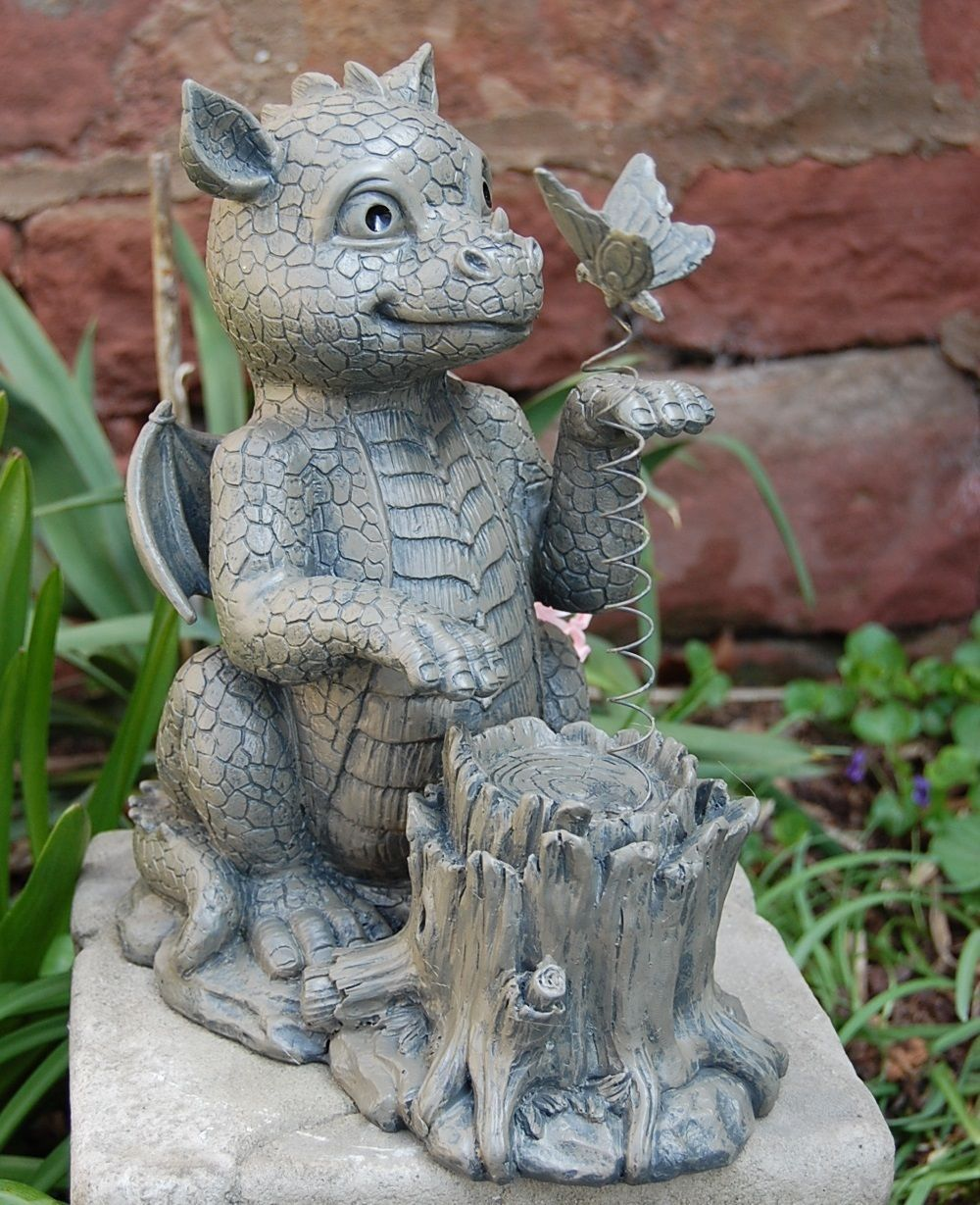 gartenfigur drache mit schmetterling frostfest torwächter gargoyle, Garten ideen