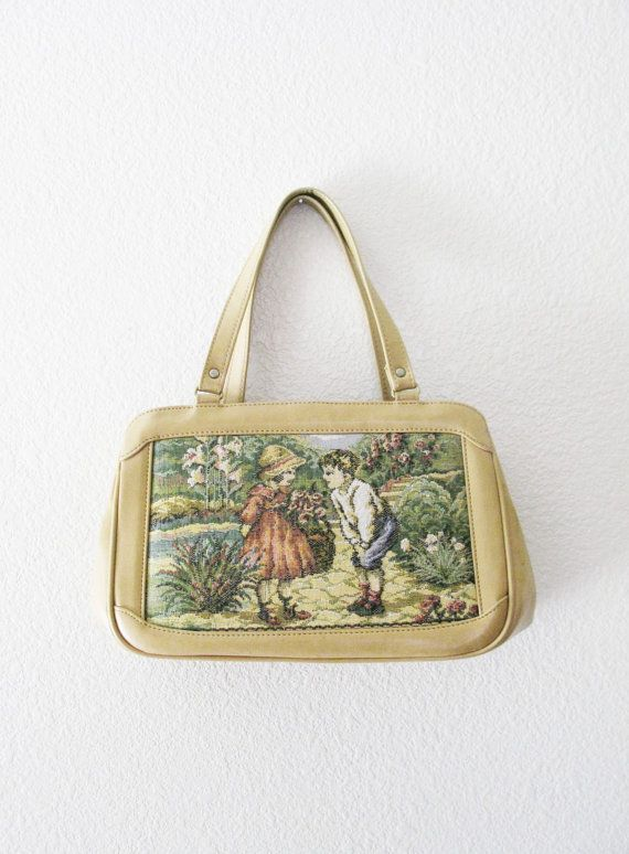 Vintage 1960's Girl Meets Boy Tapestry Purse