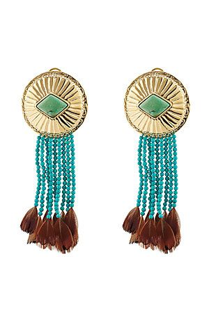 Aurélie Bidermann Navajo earrings with turquoise and pheasant feathers