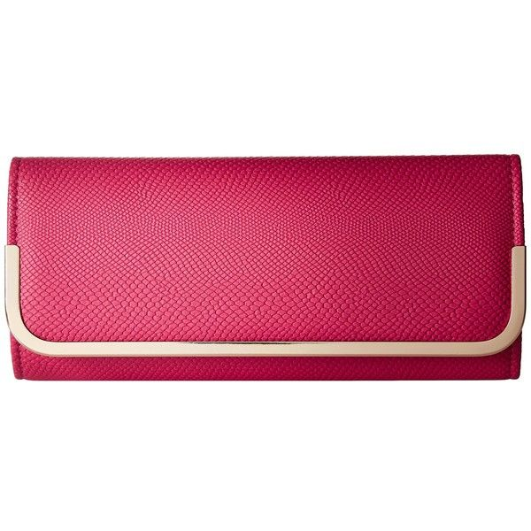 Jessica McClintock Addison Clutch (Raspberry) ($42) ❤ liked on Polyvore featuring bags, handbags, clutches, jessica mcclintock handbags, strap purse, chain strap purse, pink clutches and jessica mcclintock purse