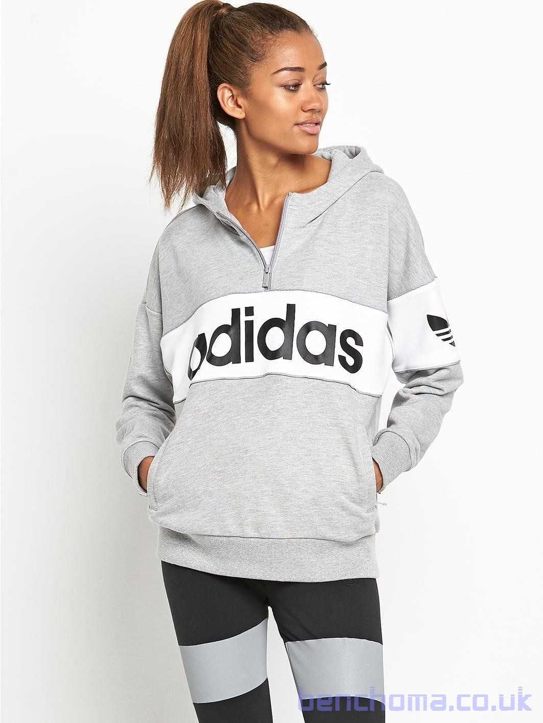 Adidas Originals Hooded Top Medium Grey Heather