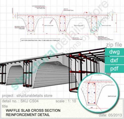 Waffle Slap Cross Section Reinforcement Detail in Reinforced