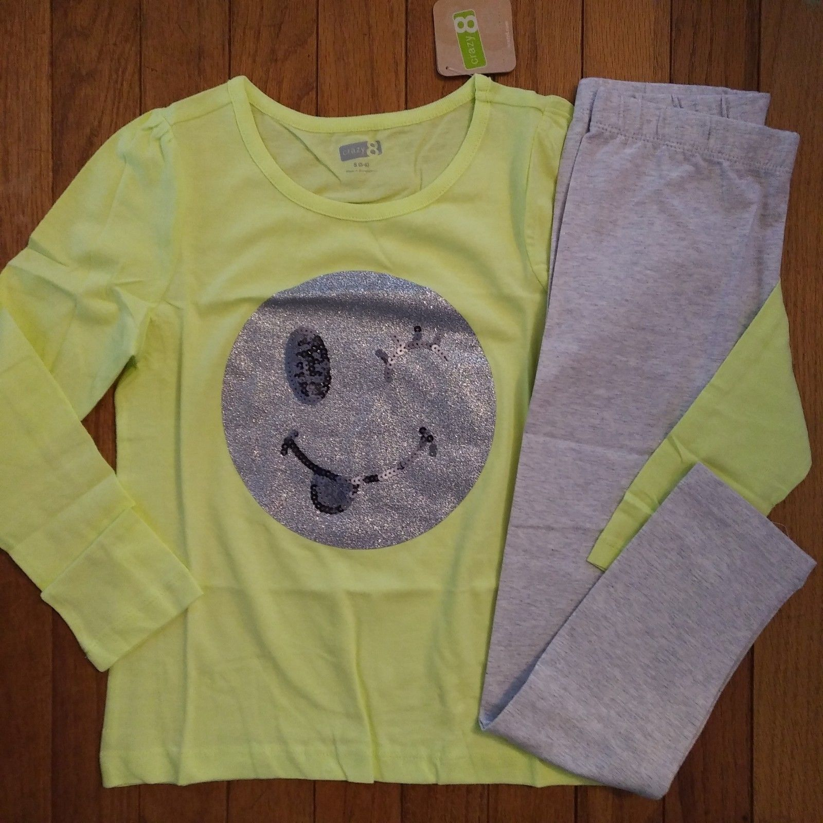 84f9497e5ae44 Outfits and Sets 156801: Nwt Gymboree Crazy 8 Girls Emoji Sparkle Top Gray  Leggings Size