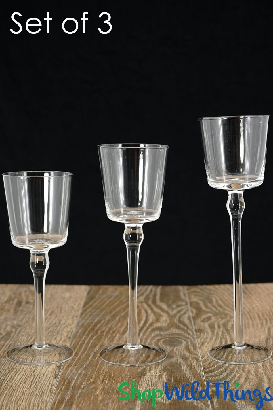 Classy looking centerpieces start with sophisticated decor pieces like this long stem glass candle holder set of 3 the cylinder shaped cups sitting atop