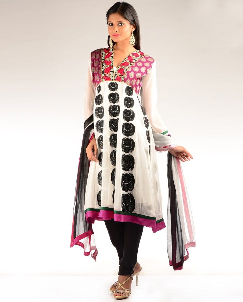 White embroidered kalidar suit with brocade yoke by dia jewelry