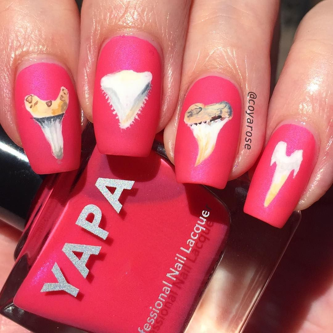 Shark Tooth Teeth Week Nails Nail Art