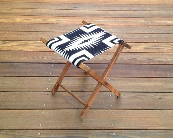 Vintage Camp Stool Pendleton Wool Seat Cross Tribal