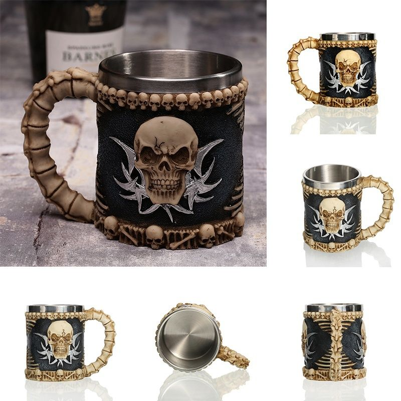 1Pcs 3D Axe ePacket Handle Viking Warrior 450ML Skull Mug Gothic