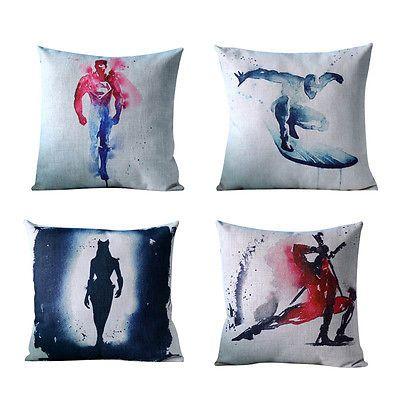Cushion Cover Super Hero Pillow Case Cotton Linen Sofa Bar Decor Linen Fashion