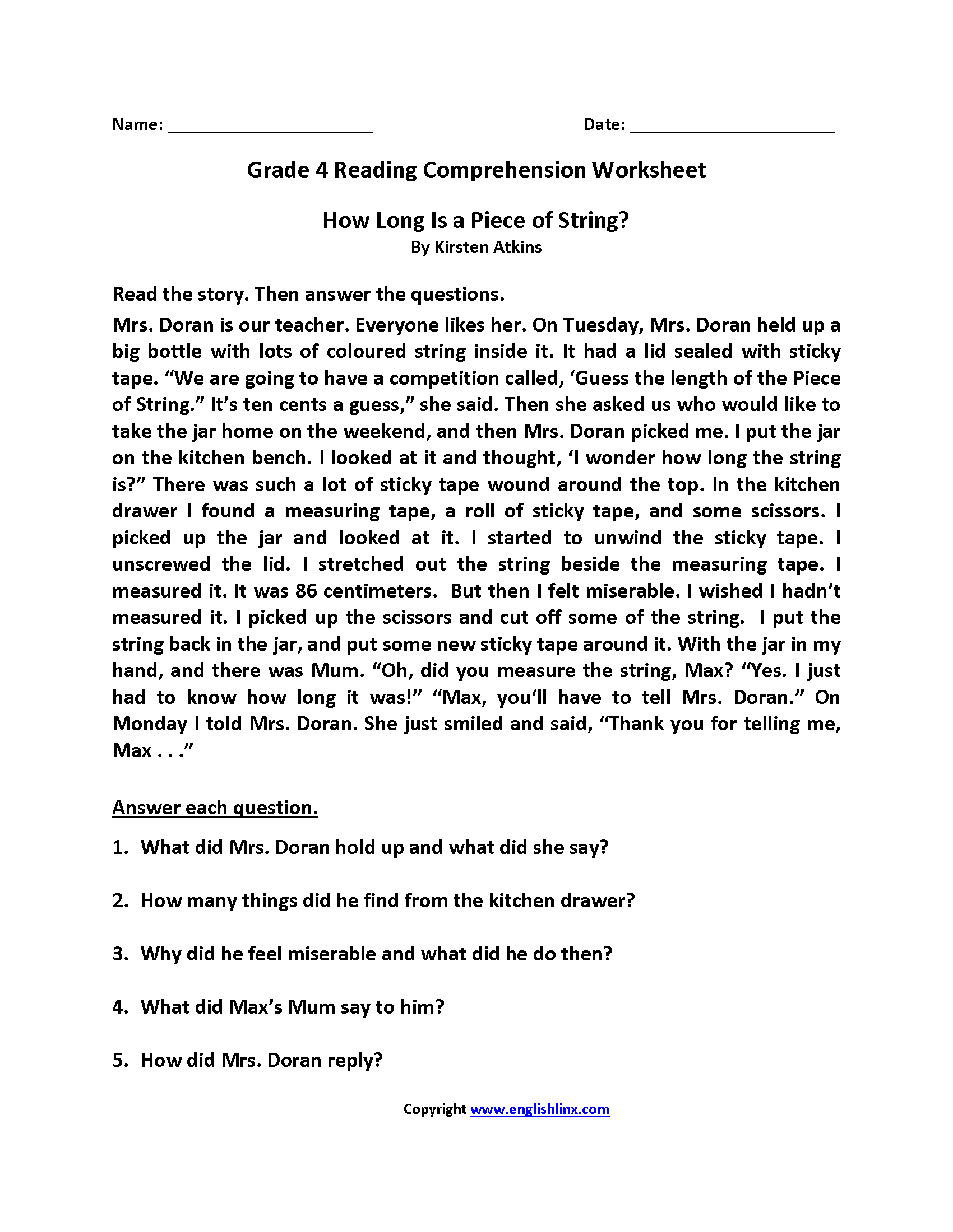 How Long Is String Fourth Grade Reading Worksheets Comprehension