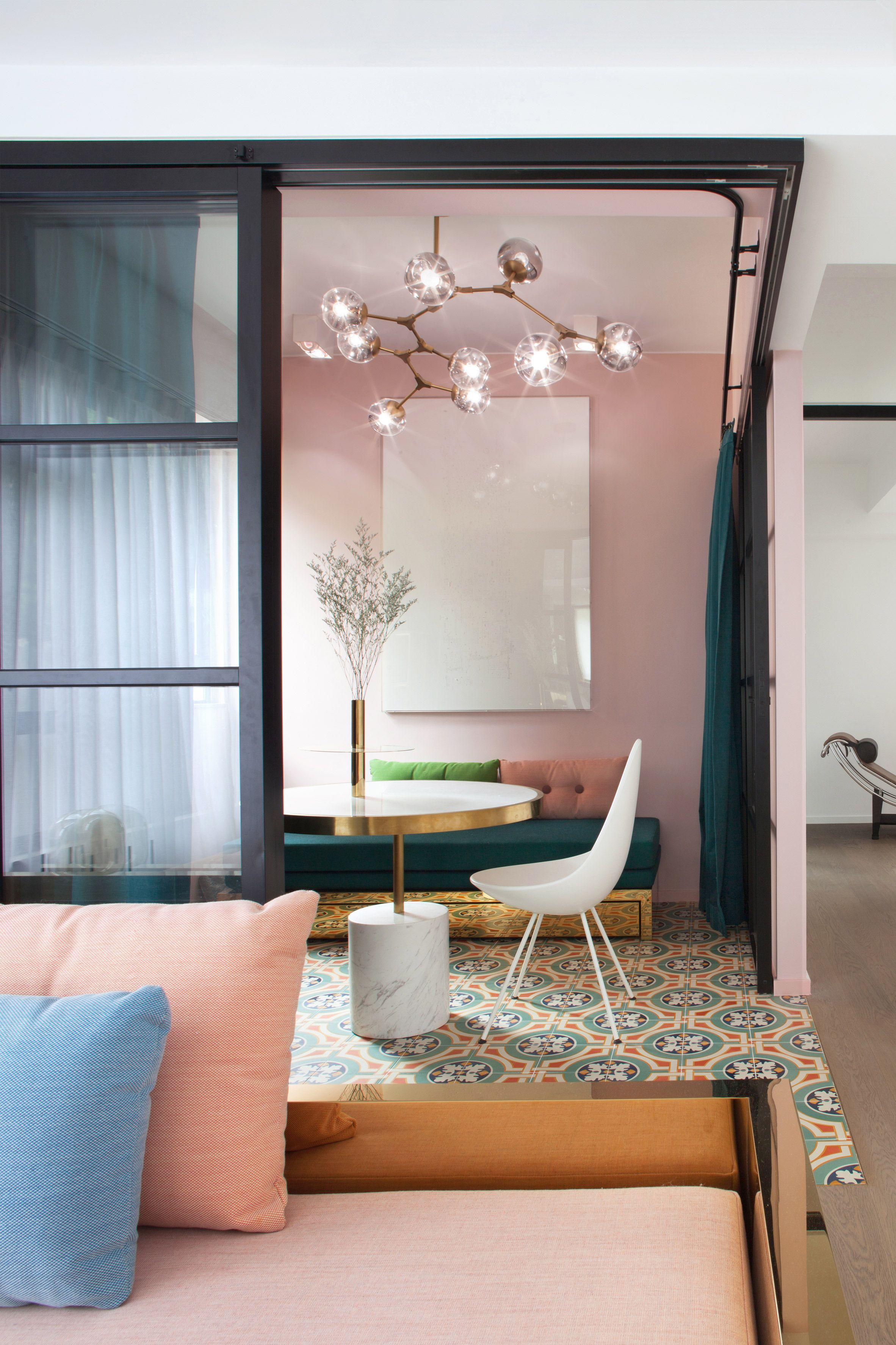 Home interior design hong kong swathes of bright colour combine with patterned ceramic tiles in the
