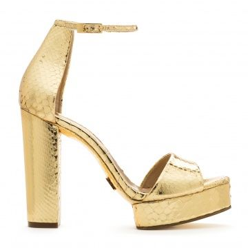 Michael Kors gold high-heeled sandals crude python